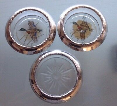 3 Vintage Frank M. Whiting & Co. Sterling Silver & Glass Coaster / Ashtray No.04