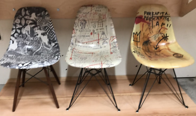 3 JEAN MICHEL BASQUIAT + SHEPARD FAIREY Modernica Eames Chair BEYOND THE STREETS