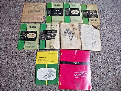 lot of 10 JOHN DEERE EQUIPMENT  OPERATOR'S MANUALS  1941 AND UP