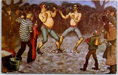 """Las Vegas, Nevada Postcard CLUB BINGO Painting """"Any Time or Place"""" Boxing c1950s"""