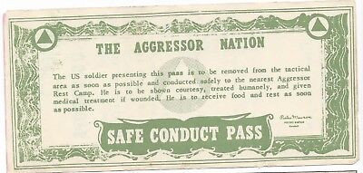 The Aggressor Nation Safe Conduct Pass Printed Army Fort Riley Kansas L-1098