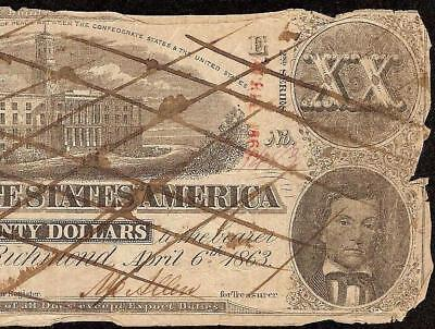 1863 $20 Dollar Bill Confederate States Note Civil War Currency Paper Money T-58
