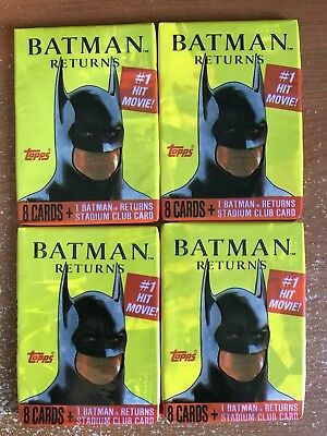Batman Returns The #1 Hit Movie Trading Cards Lot Of Four Wax Packs 1991 Topps