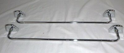 "Pr Vtg Mid Century Atomic Style Chrome 18"" Towel Bars w/ Install Clips"