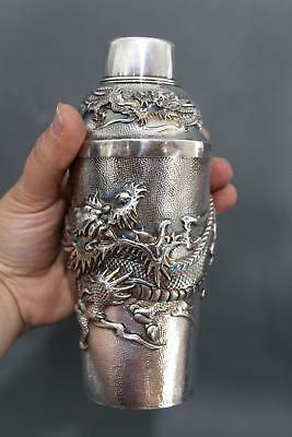 Antique Hand Hammered Chinese Dragon Export Sterling Silver Cocktail Shaker