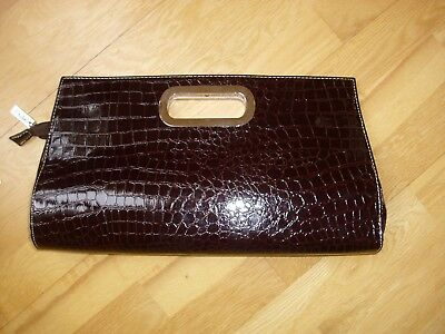 Brown crocodile print ladies clutch bag large brand new