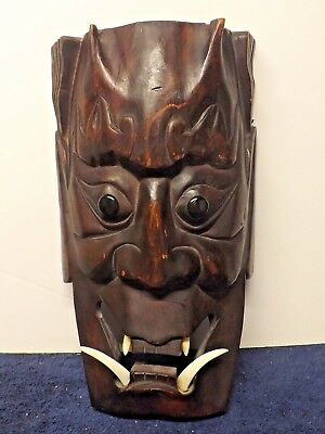 Hand Carved Japan Hannya Oni Monster Kabuki Devil Wooden Mask Teeth Fang