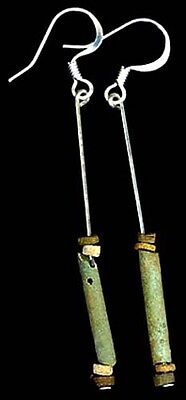 BC600 Ancient Egypt Turquoise Faience Silica Ceramic Proto Glass Hooks Sterling