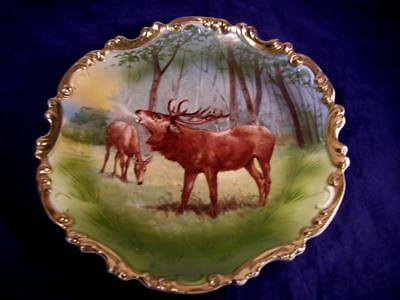 "Antique C1900 Limoges Stag & Doe in Winter 10 1/4"" Plate with Heavy Gold Gilding"