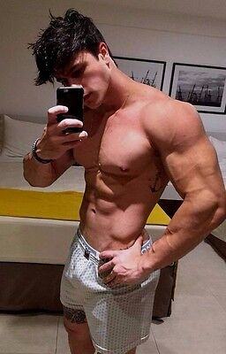 Shirtless Male Muscular Beefcake Hunk Ripped Abs Close Up View PHOTO 4X6 F835