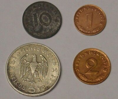 Nazi Germany coinage including silver 5 mark.