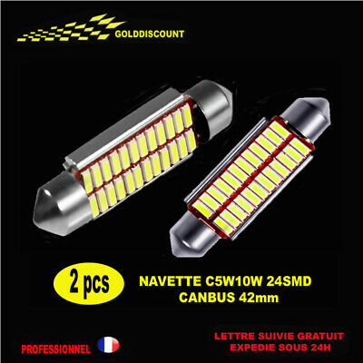 2 navette Led 42 mm c5w c10w  24 smd Canbus anti erreur odb  blanc pur 6000k  *