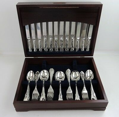 Boxed 72-piece SILVER CANTEEN of CUTLERY SET 12 person service, Sheffield 1984