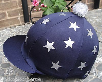 Riding Hat Silk Skull cap Cover NAVY BLUE *SILVER MINI STARS With OR w/o Pompom