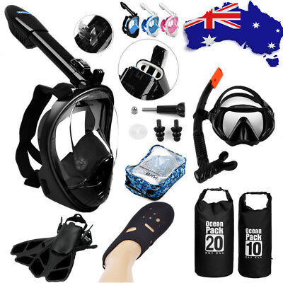 LEUCOTHEA Full Face Snorkel Mask Dry Bag Swimming Diving Socks Fins Goggles AU