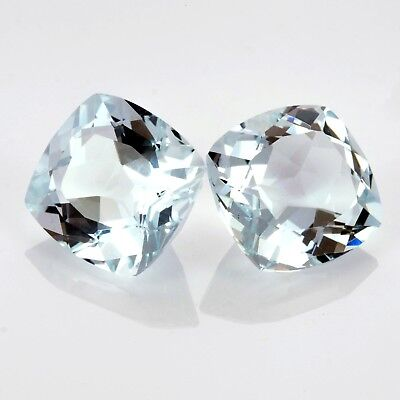 Beautiful Pair of 5mm Square Cushion Cut Natural Earth Mined Aquamarine Gemstone