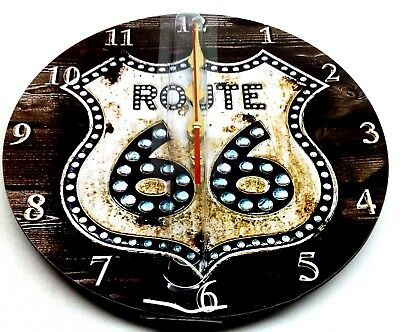 "12"" Vintage Bling Route66 Large Decorative Round Analog Wall Clock by Grazing"