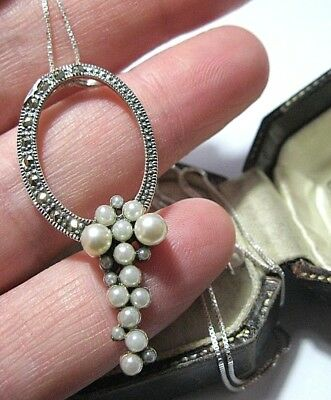 Vintage Art Deco Style Sterling Solid Silver Marcasite & Seed Pearl NECKLACE