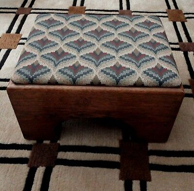 Vintage Arts & Crafts Style Era Oak Upholstered Foot Rest Stool Cut Outs