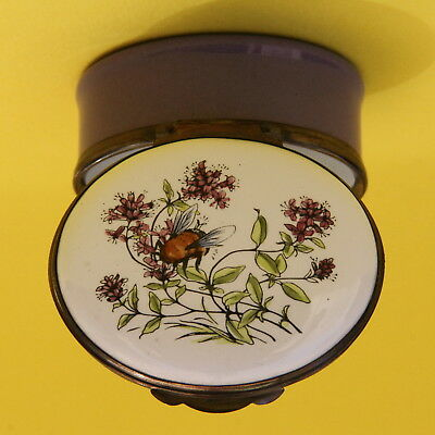 Crummles English Enamel Pill Trinket Box Bumble Bee And Flowers
