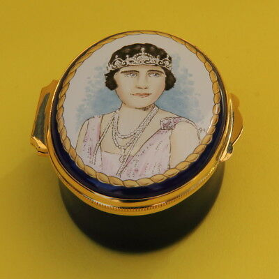 Rare Crummles English Enamel Pill Trinket Box Queen Mother 100th Birthday Cased