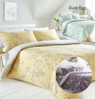 Floral Summer Yellow Fully Reversible Duvet Cover Bedding Bed Set Ochre Flower