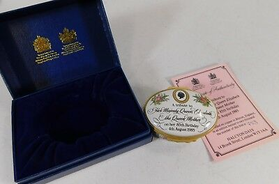 Boxed Ltd Edition Halcyon Days Trinket Box - Queen Mother's Birthday 1985