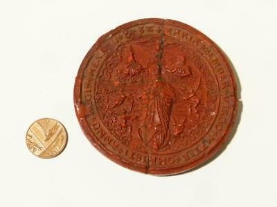 15thC+ England King Henry WAX SEAL from Royal Manuscript Document RARE #S24
