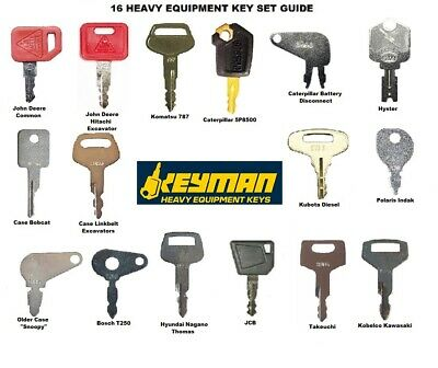 Heavy Equipment Key Set Construction Ignition 16 Key Ring With Specific Machines