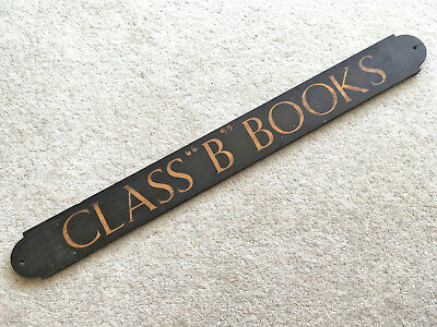 """ANTIQUE MARQUETRY INLAID SIGN 'CLASS """"B"""" BOOKS' Railwayana, Office, School ???"""