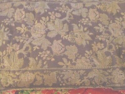 Vintage Woven Tapestry Long Table Runner Floral Pattern Mauvey Taupe & Cream