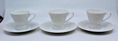Rosenthal Continental Classic Modern White Coffee Tea Cups Saucer Set of 3 (B)