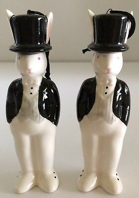2 Tip Top Tap Rabbits Midwest Cannon Falls 1985 Top Hat Chorus Line Ornaments