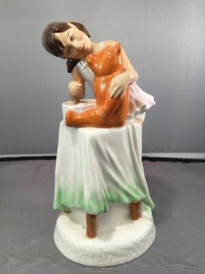 """Royal Doulton Figurine Childhood Days """"and One For You"""" Hn 2970/1981Girl & Teddy"""