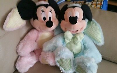 """Mickey & Minnie Mouse Disney Store Large 15"""" Plush Soft Toys. Dressed As Bunnies"""