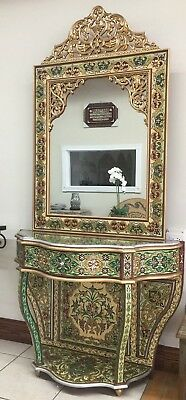 Syrian console dresser & mirror hand made painted using very ancient art. Ajami