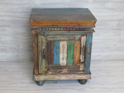 Reclaimed Indian Cabinet Bedside Decor Made of Rustic Hand Carved Wood.