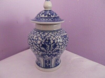 Vintage Chinese Blue/white Flowers & Leaves Des Temple Ginger Jar 11.5 Cms Tall