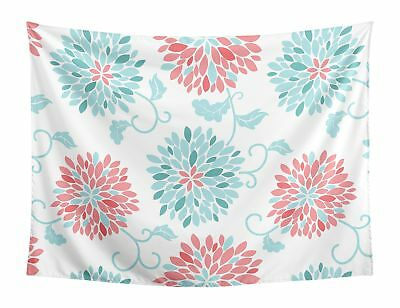 EMMA TURQUOISE AND Coral Floral Wall Hanging Tapestry Art Decor by ...