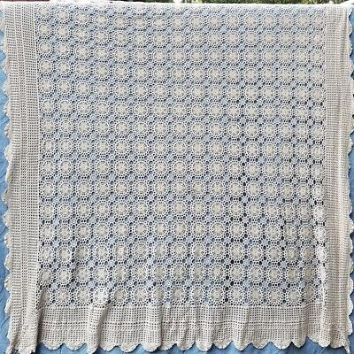 """VINTAGE CHIC HANDMADE LACE TABLECLOTH 100% COTTON SHABBY FLORAL COTTAGE 90 x 72"""""""