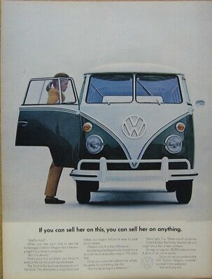 """1966 VW Volkswagen Bus Ad - """"If you can sell her..."""" Print Ad (Green)"""