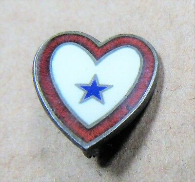 Vintage WWII Era SON IN SERVICE Sterling Silver Cloisonne Heart Shape 1 Star Pin