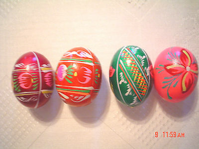 """NEW Set of 4 Vintage Hand Painted Wooden Wood Egg Polish Pysanky appprox.2"""""""