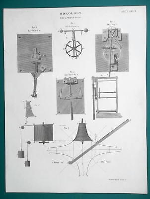HOROLOGY Clock Escapements & Fusee Engine Theory - 1815 Antique Print by A. REES