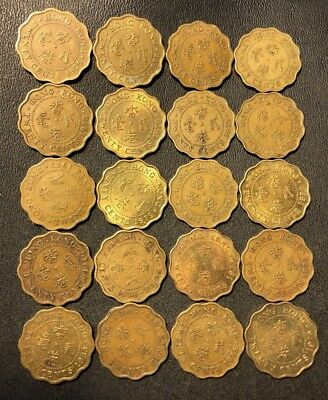 Old Hong Kong Coin Lot - 20 Cents - OLDER Types - 20 Coins - Lot #611