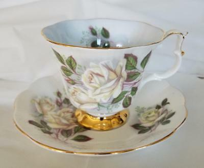 Royal Albert White Roses Cup and Saucer Set