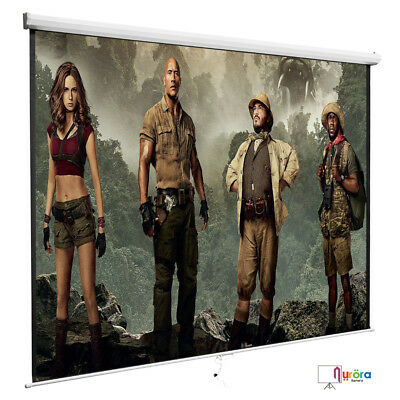 Mecor 100'' 16:9 Projection White Screen Manual Pull Down Projector Movie Matte