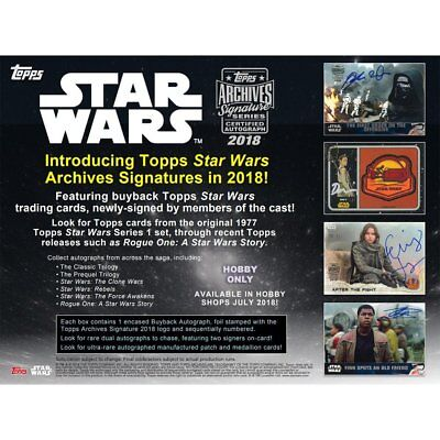 2018 Topps Star Wars Archives Signature Series Hobby Sealed Box- Pre-Order!