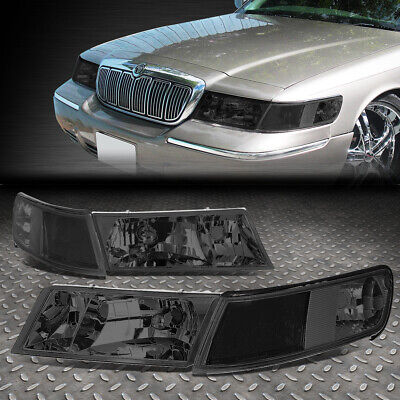For 98-02 Mercury Grand Marquis Pair Smoked Housing Clear Corner Headlight/lamps
