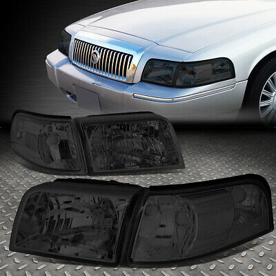 For 06-11 Mercury Grand Marquis Pair Smoked Housing Clear Corner Headlight/lamps